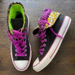 Converse leopard high top sneakers